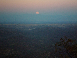 Moon Rise over Mt Lassen from our cabin